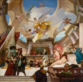 Munkácsy Mihály: A reneszánsz apoteózisa – vázlat a Kunsthistorisches Museum mennyezetképéhez, 1889, olaj, vászon,
