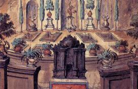 Allegorikus kert, színpadterv a XVII. százád végéről - XVIII. század elejéről