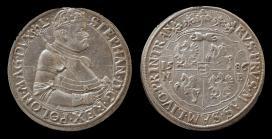 Báthory István lengyel király és erdélyi fejdelem az erdélyi Nagybányán vert ezüst tallérjának elő és hátlapja 1586-ból.