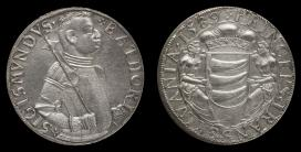 Báthory Zsigmond erdélyi fejedelem 1589-ben vert ezüst tallérjának elő és hátlapja.