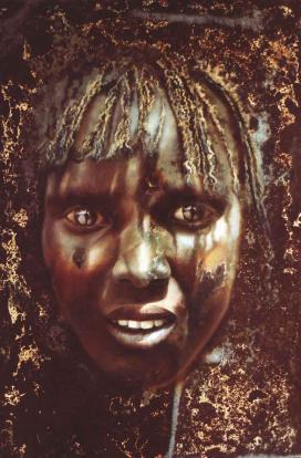 Bihari Andrea (Ynda) : Afrika szelleme, olaj-vaslemez, 65x45 cm\r\n