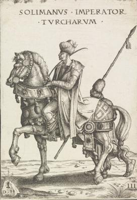 Daniel Hopfer (1470 k.-1526): Nagy Szulejmán lovasképe (rézkarc-sorozat) 1526 körül\r\n