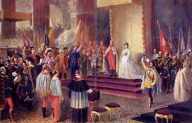 Eduard von Engerth (1818-1897): A koronázás Budán (1872)