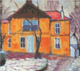 Galimberti Sándor: Rónai-villa télen, 1908. vászon, olaj 55x62 cm, Rippl-Rónai Múzeum