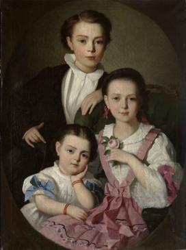 György Giergl Alajos (1821-1863): Czóbel István, Minka és Emma. 1857. Olajfestmény\r\n