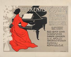 Helbing Ferenc: Heckenast Gusztáv zongoratermei, plakát, 1908 körül, színes litográfia