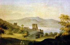 Klette Károly (1793-1874): Visegrád látképe, vízfestmény\r\n