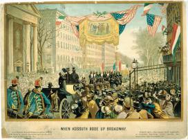 Ismeretlen művész: Kossuth bevonulása New Yorkba. 1851. december 6., Színes nyomat\r\n