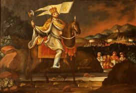 László király katonái számára vizet fakaszt. Korábbi eredeti alapján Báró Fischer készíttette festmény 1817-ből a debrődi templom szentélyében.