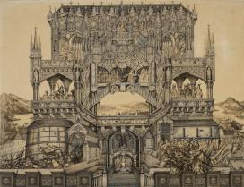 Pálffy Lipót (1834-1884): A magyar történelem szimbolikus épülete, 1868, papír, szépia és tollrajz\r\n