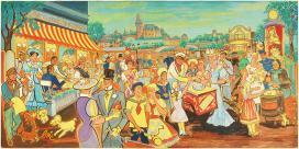 Vogel Eric a Pálmai cukrászdában mulató színészek című képén Horváth Tivadar, Rátonyi Róbert, Latabár Kálmán, Gálfi János és a tánckar látható.