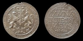 Székely Mózes erdélyi fejedelem tízszeres arany dukátjának ezüstre vitt verete 1603-ból.