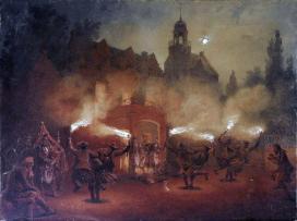 Zichy Mihály (1827-1906): Skót fáklyatánc, 1871, akvarell