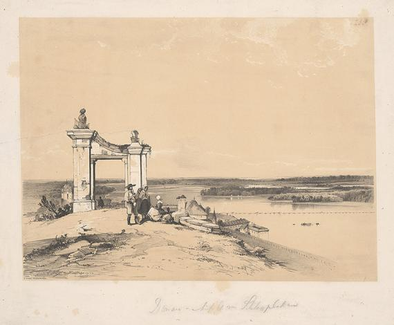 George Edwards Hering (1805-1879) - James Baker Pyne (1800-1870): A Duna Pozsonynál, színes litográfia, Magyar Nemzeti Múzeum Történelmi Képcsarnok\r\n