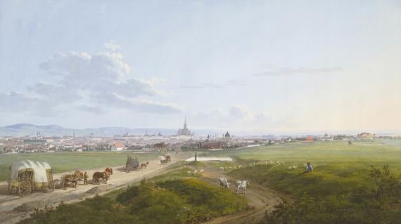 Jakob Alt: Blick auf Wien von der Spinnerin am Kreuz, 1817, Aquarell, Deckfarben\r\n
