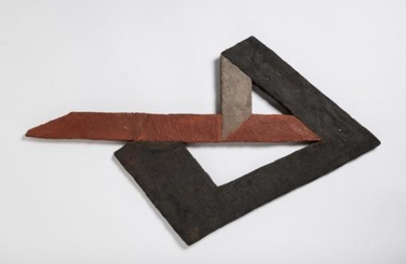 Péri László: Térkonstrukció 18, 1923; színes beton relief, 53x64 cm