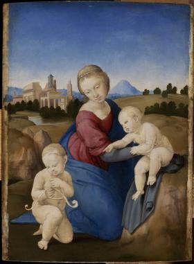 Raffaello Santi: Mária a Gyermekkel és a kis Keresztelő Szent Jánossal (Esterházy Madonna)