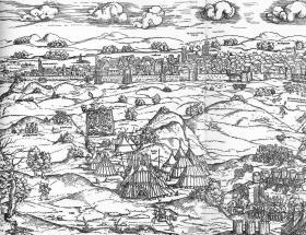 Erhard Schön (1491-1542 körül): Buda ostroma. 1541 (a metszet bal oldali része)