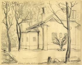Makoldy József (1890-1957): Jókai Mór villája a Svábhegyen. 1926. Ceruzarajz\r\n