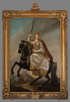 Mária Terézia lovon, karddal a kezében