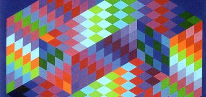 Victor Vasarely AMBIGU-B 1970, paper, tempera