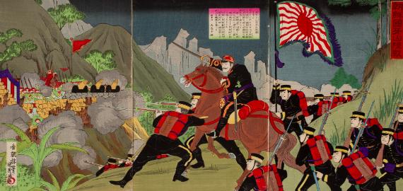 Kōchōrō Kunishige Szárazföldi csata Gazannál (Korea) a kínai-japán háborúban (triptichon), Japán, Meiji-korszak, 1894 körül, színes fametszet, 37,4 x 25,6 cm, Hopp Ferenc Ázsiai Művészeti Múzeum