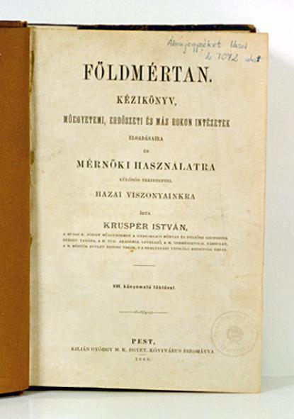 Krusper István: Földmértan (1869)