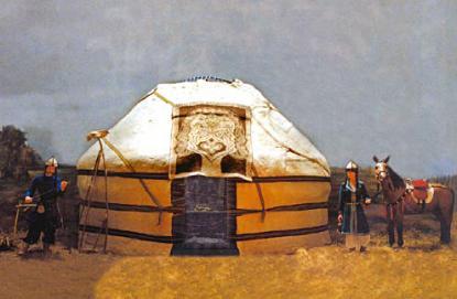 Honfoglalás-kori életkép jurtával