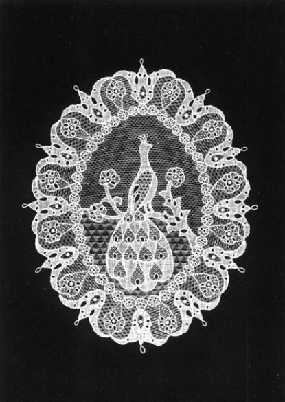 Ovál páva (25x18cm)