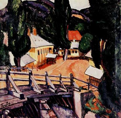 Tihanyi Lajos: Tájkép hiddal (1909)