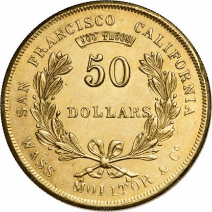 Wass, Molitor & Co., 50 dollár, 1855