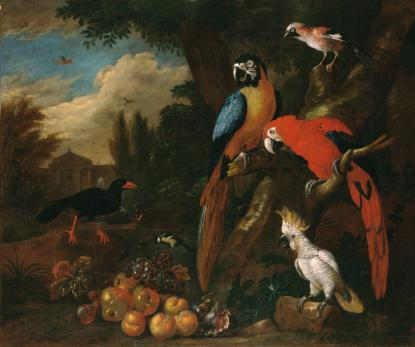 Bogdány Jakab Csendélet papagájokkal