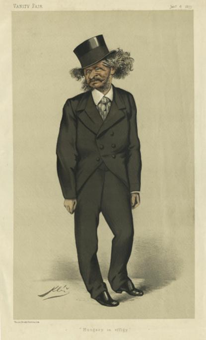 Karel Václav Klíč (1841-1926): Andrássy Gyula karikatúrája, 1877, színes litográfia