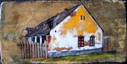 Bihari Puhl Levente: Vár utcai ház (cserépre festve)