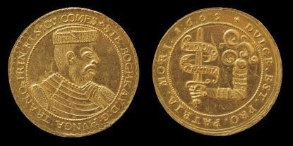 Bocskai István erdélyi fejedelem tízszeres arany dukátjának remek példánya 1605-ből.
