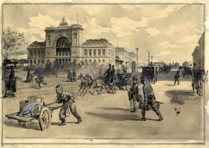 Háry Gyula (1864-1946): A Keleti pályaudvar. 1880-as évek. Akvarell, tusrajz, fedőfehér. \r\n