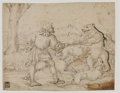 Augustin Hirschvogel: Álló medve elejtése, toll, barna tinta, 162 × 207 mm. Ltsz. 134.