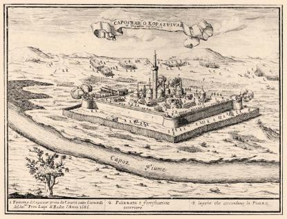 Kaposvár vára, 1686, rézmetszet