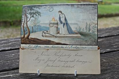 Allegorikus kép a Kisfaludy Sándor temetésére küldött koszorú egy levélkéjével