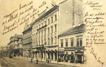 Üllői út a Medikus kávéházzal. (1904, Salgó Sándor fényképészete)