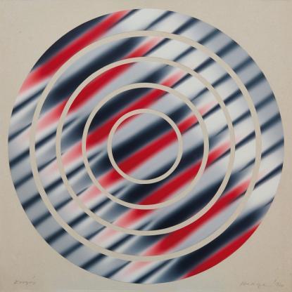 Hencze Tamás: Forgás, 1970, ofszetfesték, karton, kollázs, 70×70 cm