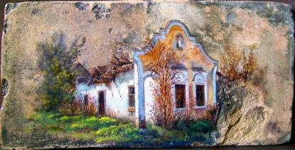 Régi ház Béren, olaj, 18.sz-i tetőcserép, 18 x 36,5 cm, 2013., magángyűjtemény, Budapest\r\n