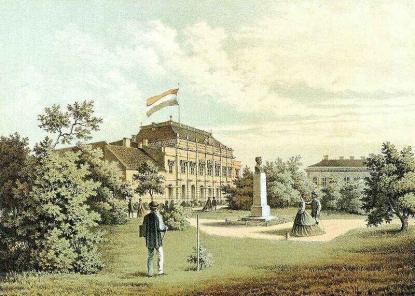 Slowikowski Ádám (működött 1860-70 körül): Az ideiglenes magyar képviselőház látképe Pesten a Múzeum-kertből. 1865. Színes litográfia