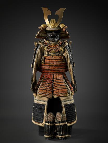 Szamurájpáncél (haramaki), Japán, 19. század eleje, datált sisak (japán: kabutō): 1821. január, bronz, vas, textil, bőr, lakk, aranyozás
