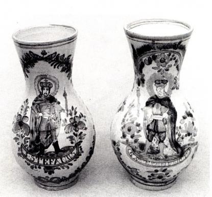 Szent István király ábrázolása két bokályon. Stomfai szlovák, Pozsony m.