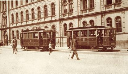 Villamosok a Király utcában (Pécs)