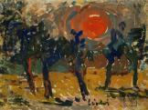 Lipták Pál: Ígéretek között izzik a Nap, tempera, karton, 65x85 cm