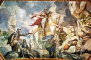 Szent László vízfakasztása a kegytemplom mennyezeti falfestményén, Mátraverebély-Szentkút