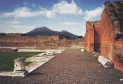 A Vezúv látképe Pompejiből