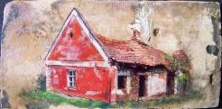 Régi ház Barnagon, olaj-18.sz-i tetőcserép, 18,4 x 37,2 cm, 2015, Levy Műterem-Galéria\r\n